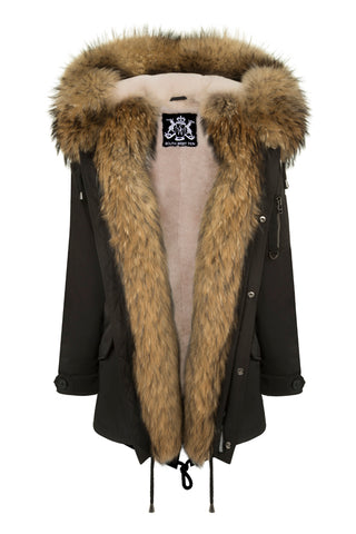 Khaki Parka with Blue Reversible Fur