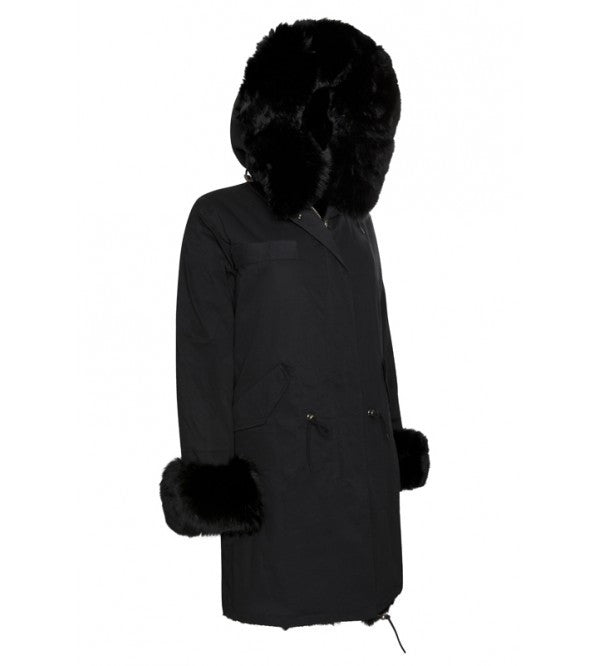 Full fur lined parka with fox fur collared hood and fur cuffs