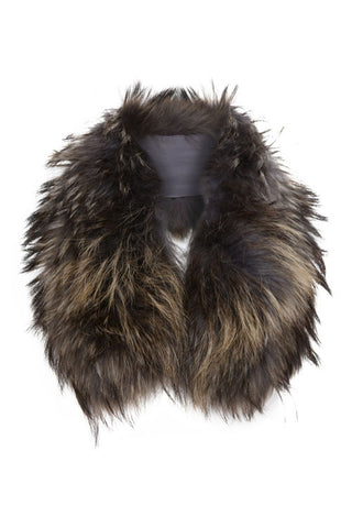 Brown Black Fur Collar