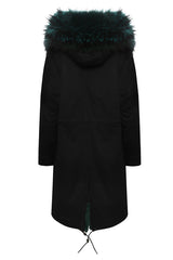 Black Parka with Emerald Green Fur (Long)