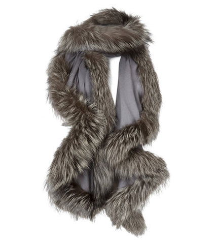 Dove Grey Wrap with Grey Fur