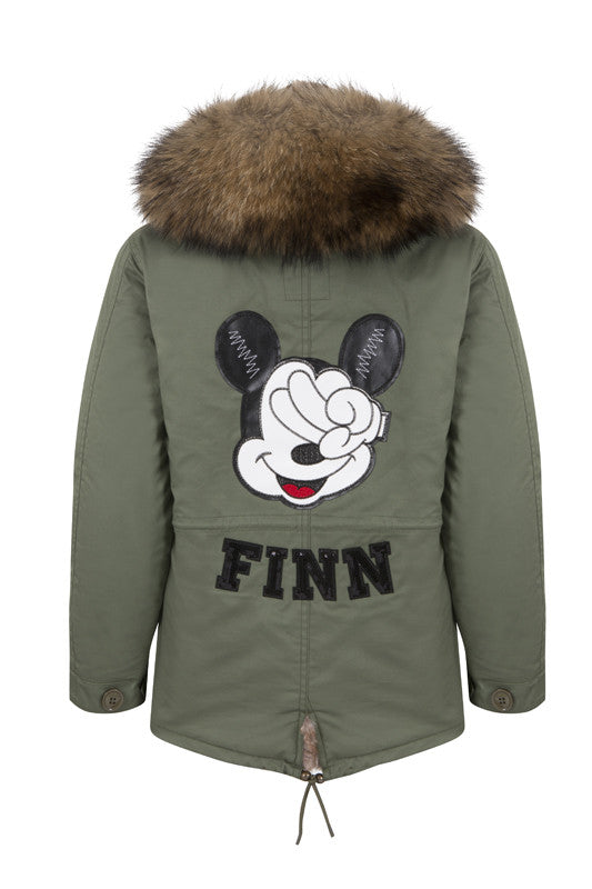 Personalised Kids Khaki Parka with Natural Fur Hood