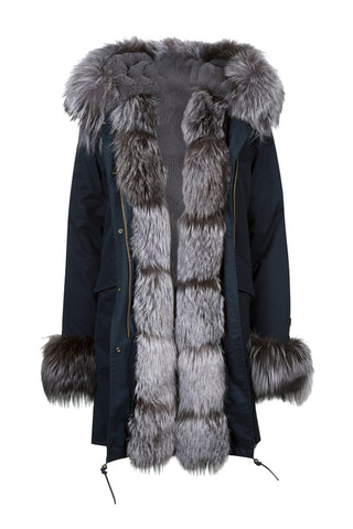 Luxury Navy Parka with Silver Fox Fur