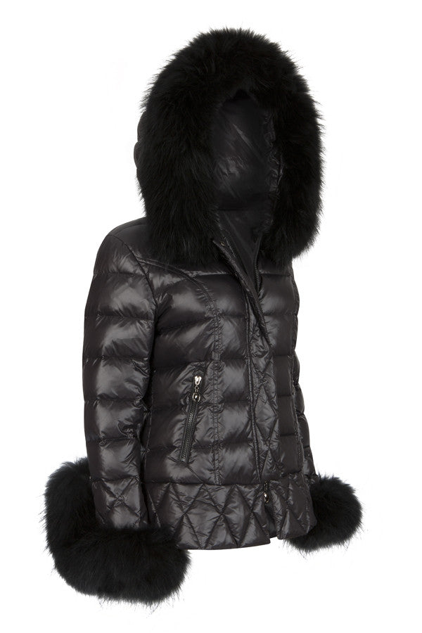 Puffa Jacket Padded Coat Black Fur