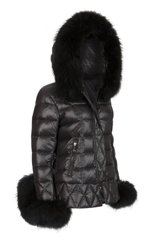 Puffa Jacket with Natural Fur Collar and Cuffs