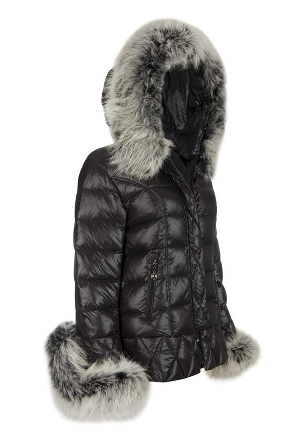 f0abba3c3d5 Puffa Jacket with Silver Fox Fur Collar and Cuffs – South West Ten