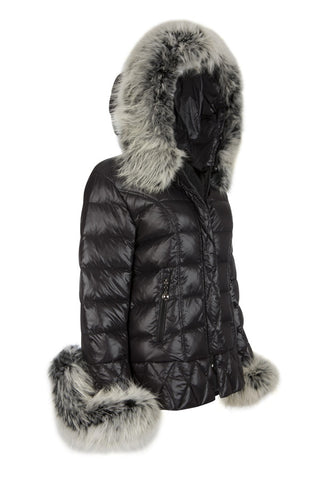 Puffa Jacket with Purple Fox Collar and Cuffs
