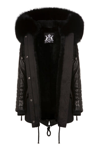 Mens Black Parka with Black Fur & Leather Sleeves