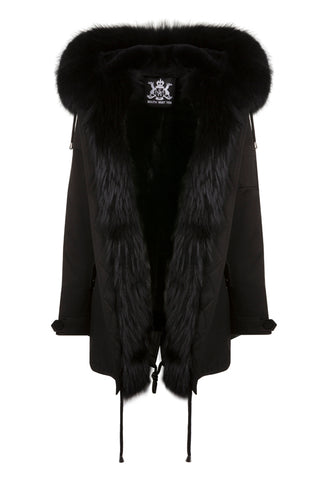 Mens Black Parka with Black Fur