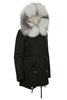 Black Parka with White/Black Fur