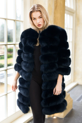 Luxury Navy Fox Fur Coat