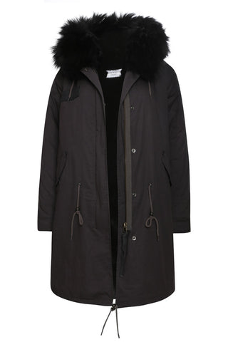 Black Parka with Burgundy Fur (Long)