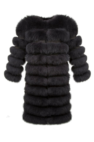 Luxury Fox Fur Multi-Way Long Coat