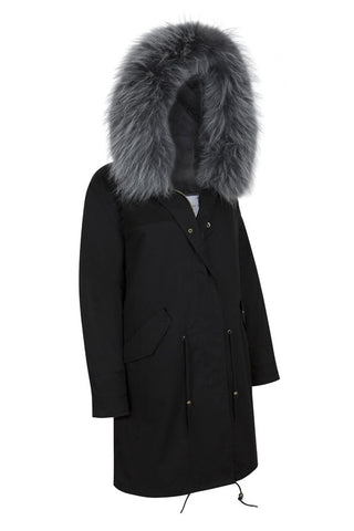 Black Parka with Grey Fur (Short)