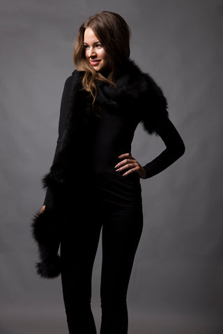 Black Wrap with Black Fox Fur