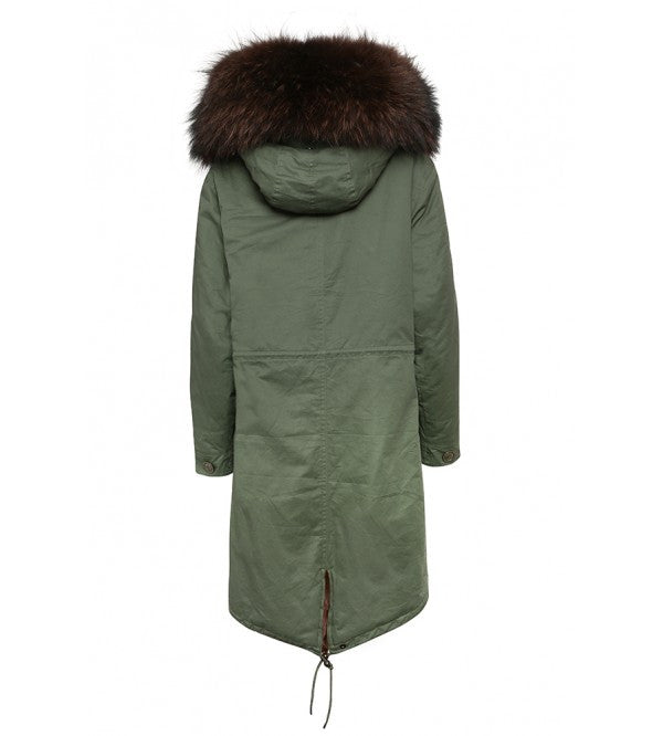 Khaki Parka with Chocolate Fur (Long)