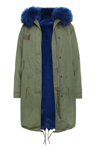 Khaki faux fur lined parka with cobalt faux fur hood (Long)
