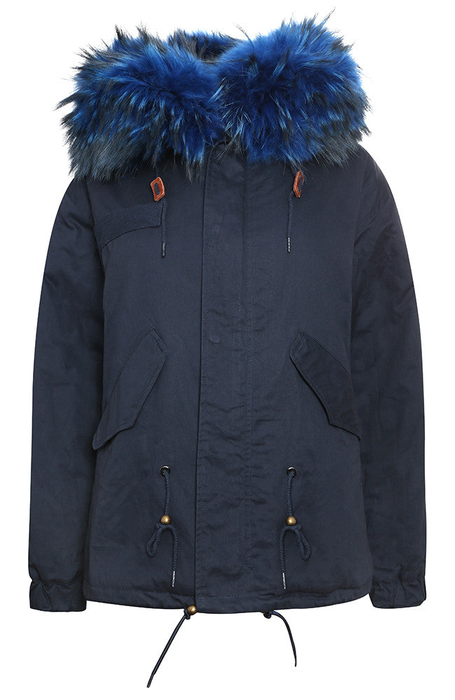 Navy Parka with Cobalt Faux Lining and Hood