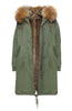 Khaki Parka with Natural Faux Lining and Hood (Long)