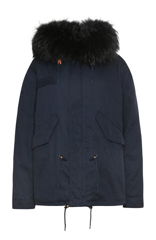 Mens Navy and Black Short Fox Fur Parka