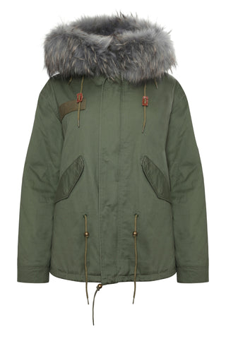 Khaki Parka with Reversible Burgundy Fur