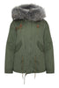 Khaki Parka with Grey Fur (Short)