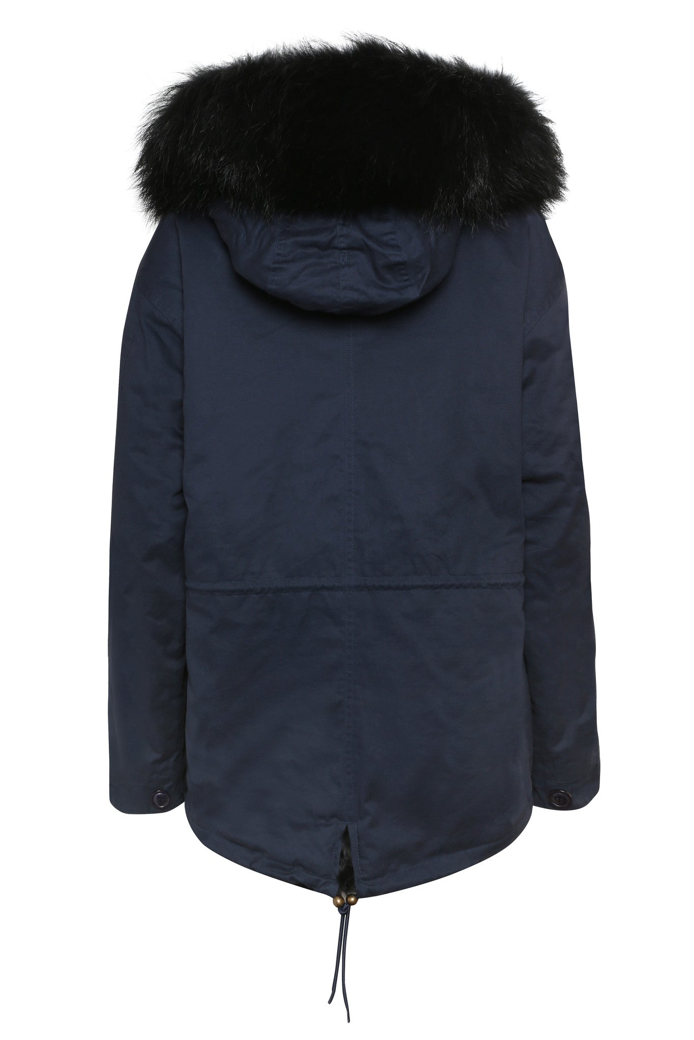 Navy Parka with Black Faux Lining and Hood