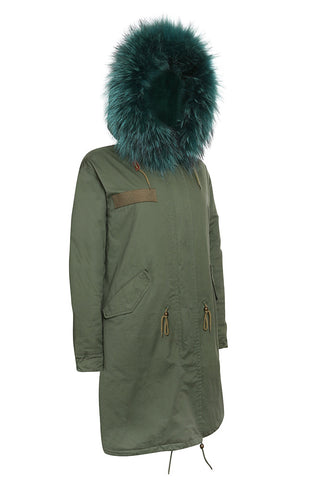 Khaki Parka with Cobalt Fur (Long)