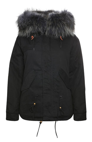 Khaki Parka with Black Fur (Long)