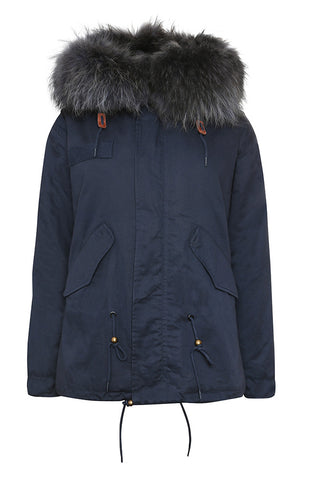 Navy Parka with Fuchsia Fur (Short)
