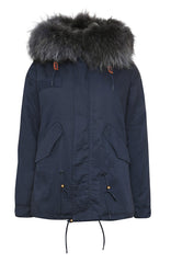 Navy Parka with Grey Fur (Short)
