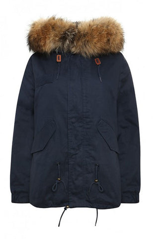 Mens Natural Fox Short Navy Parka