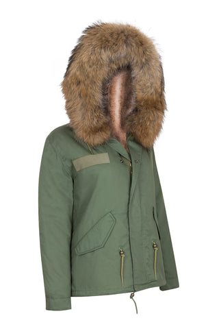 Khaki Parka Lined with Natural Faux Lining and Hood