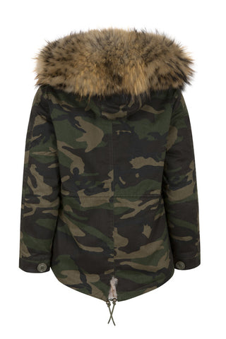 Kids Camo Parka with Natural Fur Hood