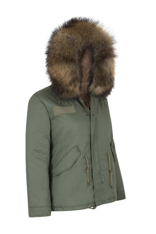 Kids Khaki Parka with Natural Fur Hood