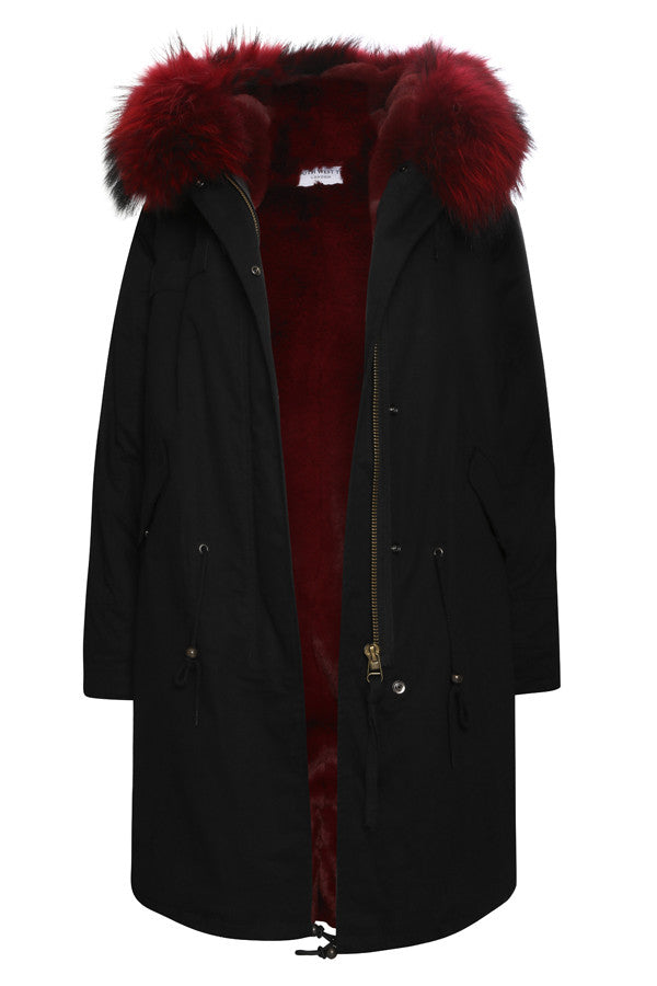 buy popular 249e6 e95c9 Black Parka with Burgundy Fur (Long)