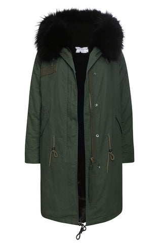 Khaki Parka with Black Faux Lining and Hood (Long)