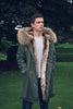 Mens Khaki Parka with Natural Fur (Long)