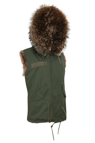 Womens Khaki Army Gilet with Black Fur Hood