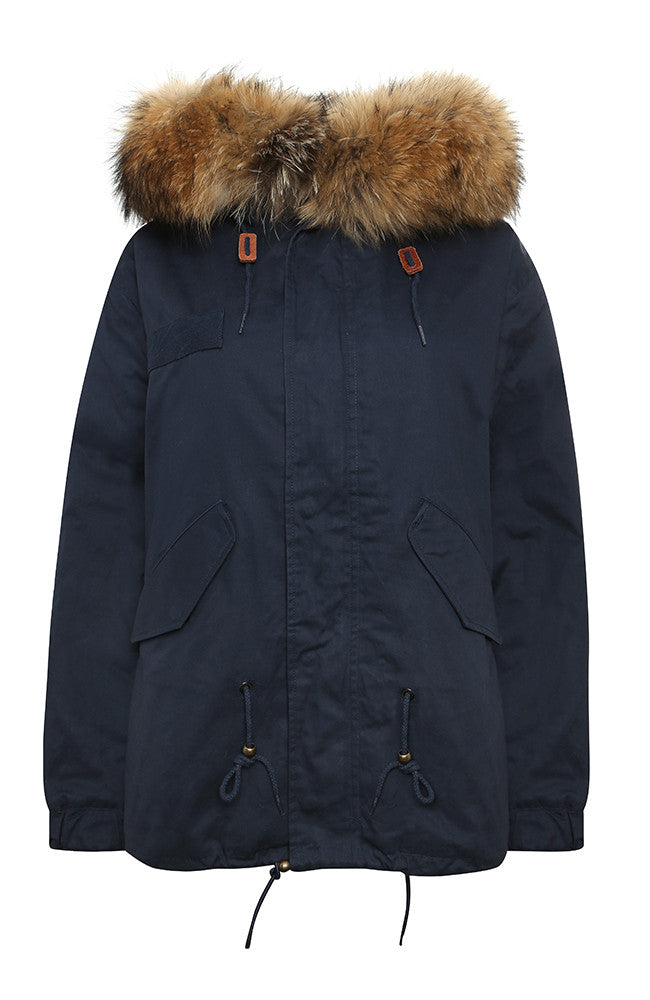 Navy Parka with Natural Fur (Short)