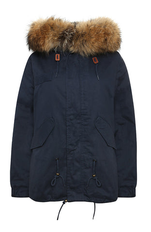 Grey Parka with White Faux Lining and Hood (Long)