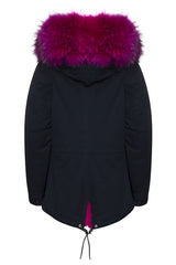 navy parka with fuchsia fur