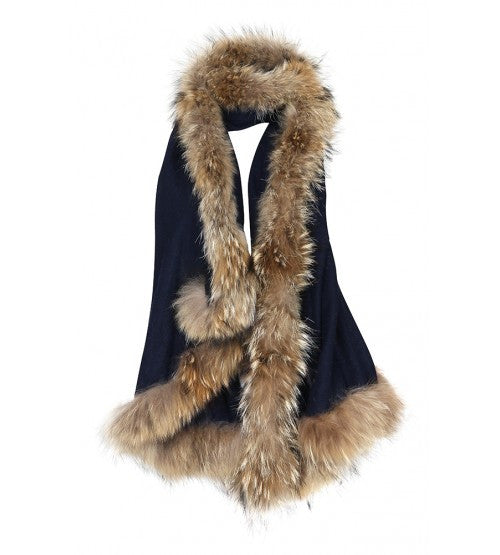 Navy Wrap with Natural Fur