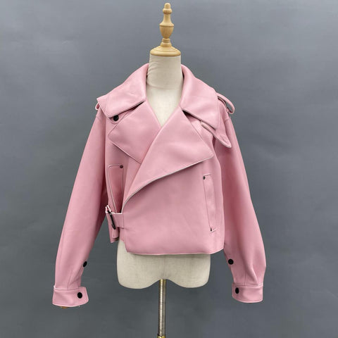 Pink Oversized Leather Jacket