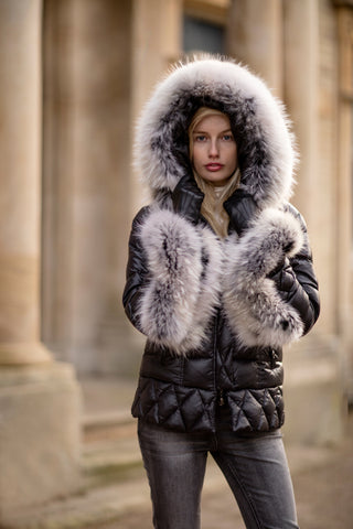 Puffa Jacket with Silver Fox Fur Collar and Cuffs