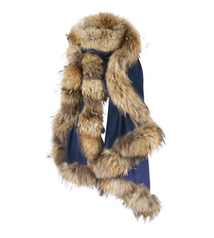 French Navy Wrap with Natural Fur