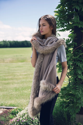 Taupe Wrap with Natural Full Fur