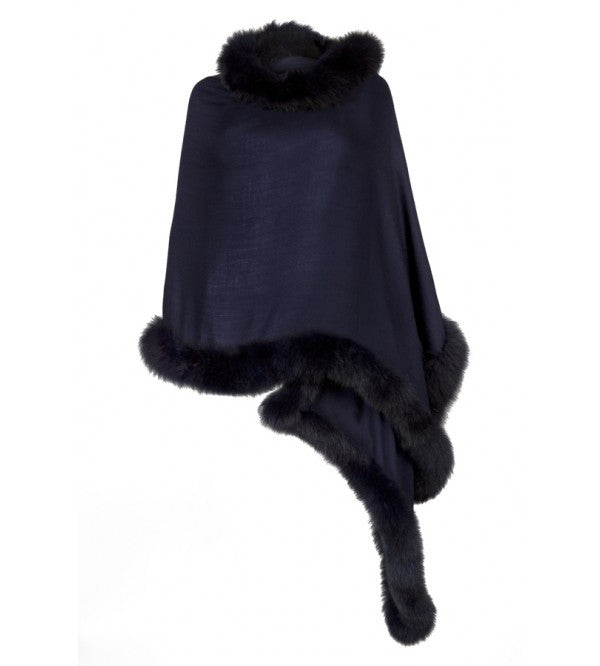 Navy Wrap with Navy Fur