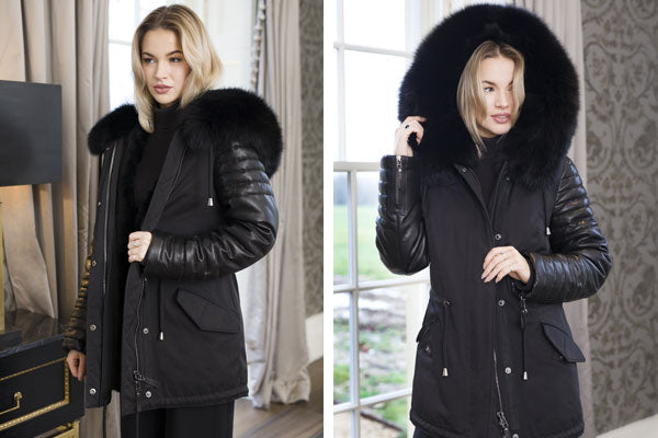 Women's Black Parka with Black Fur & Leather Sleeves
