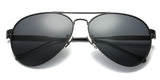 BlackSolid Main ZILOE Aviator Black Metal Sunglasses